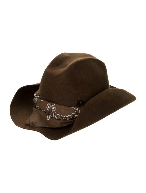 Maison Michel Felt Fedora Hat Brown