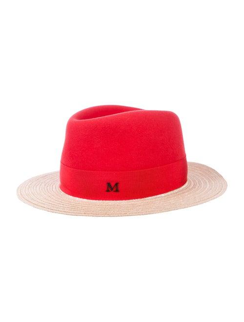Maison Michel Straw Wide Brim Hat Red
