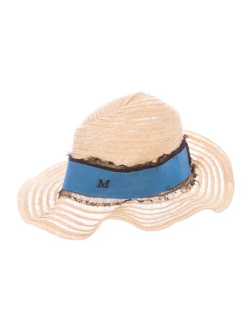 Maison Michel Straw Wide Brim Hat Tan