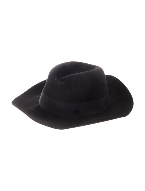 Maison Michel Knit Wide-Brim Fedora Black