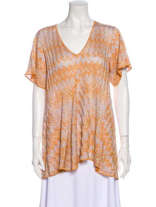 Missoni Mare Striped V-Neck Top Orange
