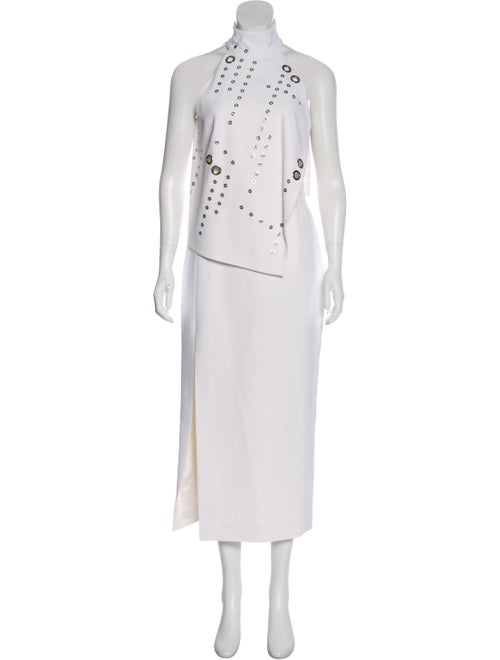 Mugler Sleeveless Maxi Dress silver