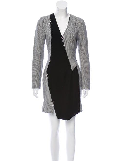 Mugler Houndstooth Asymmetrical Dress Black