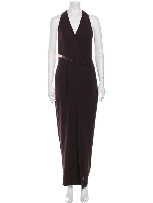 Mugler Halterneck Long Dress Brown
