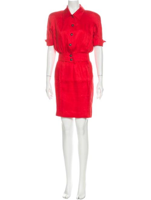 Mugler Vintage Linen Skirt Set Red
