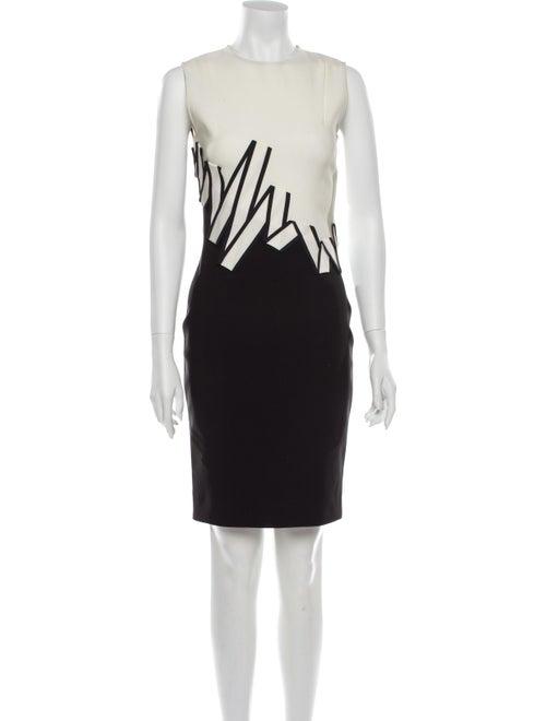 Mugler Colorblock Pattern Knee-Length Dress Black