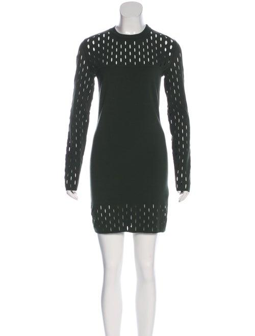 Mugler Cutout-Accented Knit Dress green