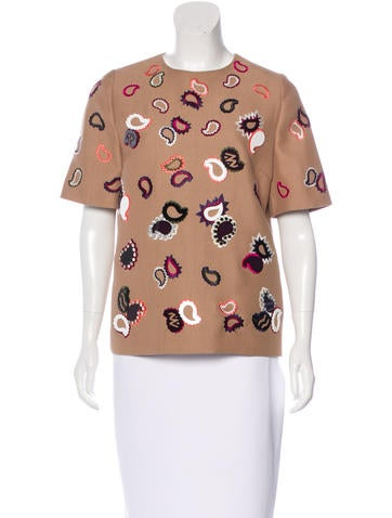 Mulberry Wool Embroidered Top None
