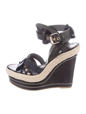 Mulberry Leather Espadrille Wedges None