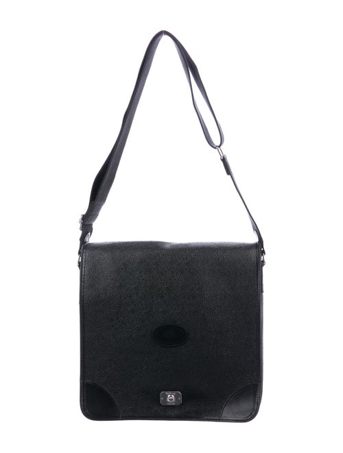 Mulberry Leather Messenger Bag Black