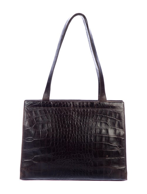 Mulberry Embossed Leather Tote Brown