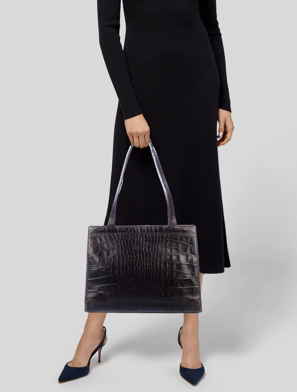Mulberry Embossed Leather Tote Brown - image 2