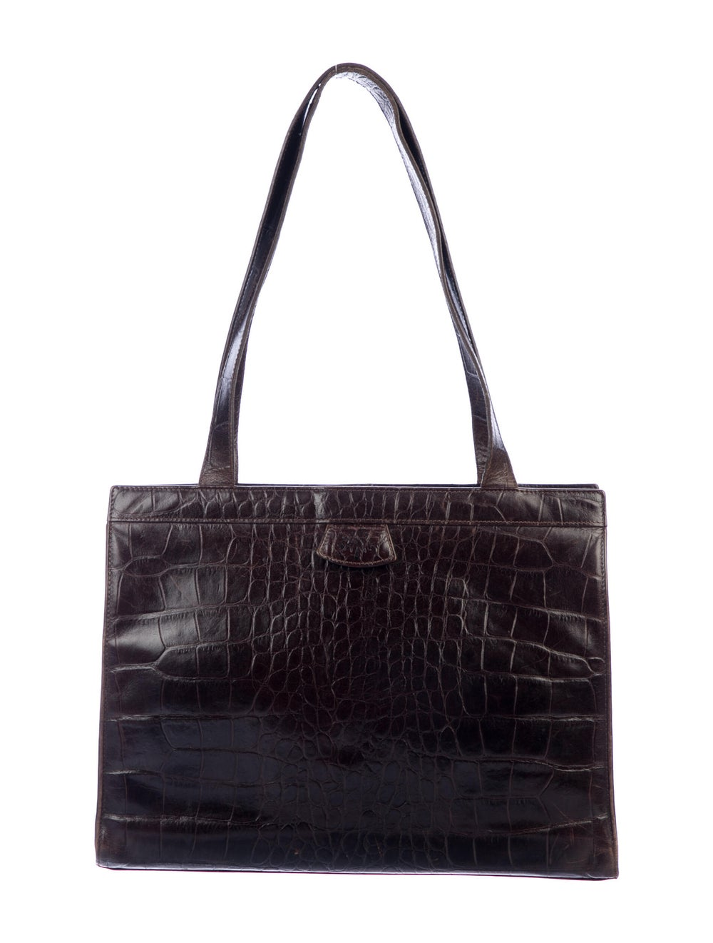 Mulberry Embossed Leather Tote Brown - image 4