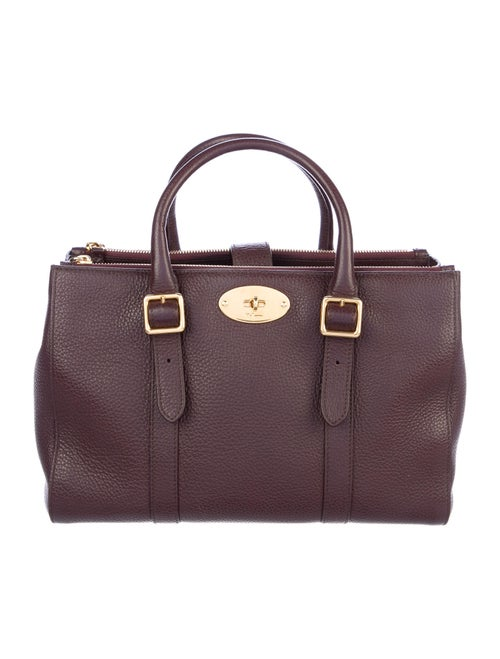 Mulberry Grained Leather Satchel Purple
