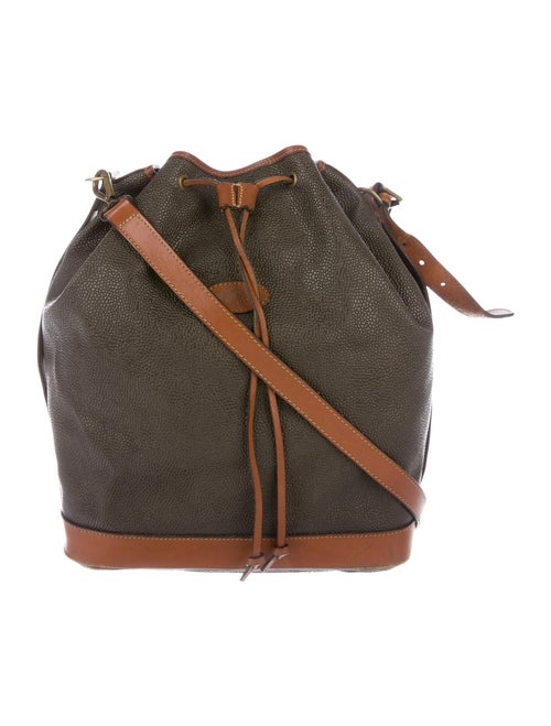 Mulberry Leather Drawstring Bucket Bag Brown