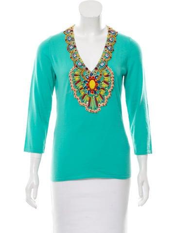 Naeem Khan Embellished Cashmere Sweater None