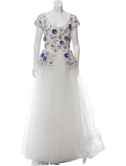 Naeem Khan Embellished Tulle Gown White
