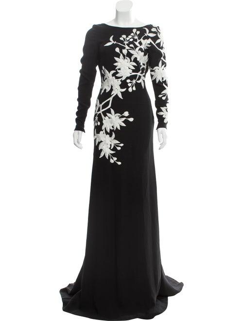 Naeem Khan Embroidered Evening Gown Black