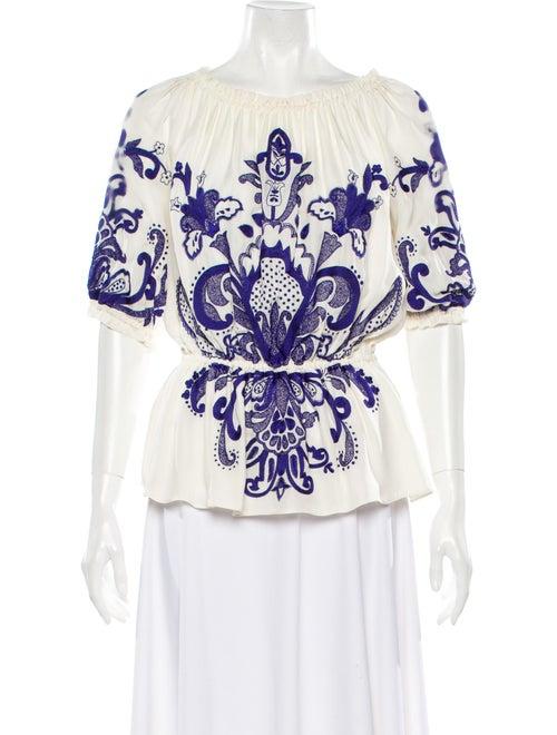 Naeem Khan Silk Printed Blouse White