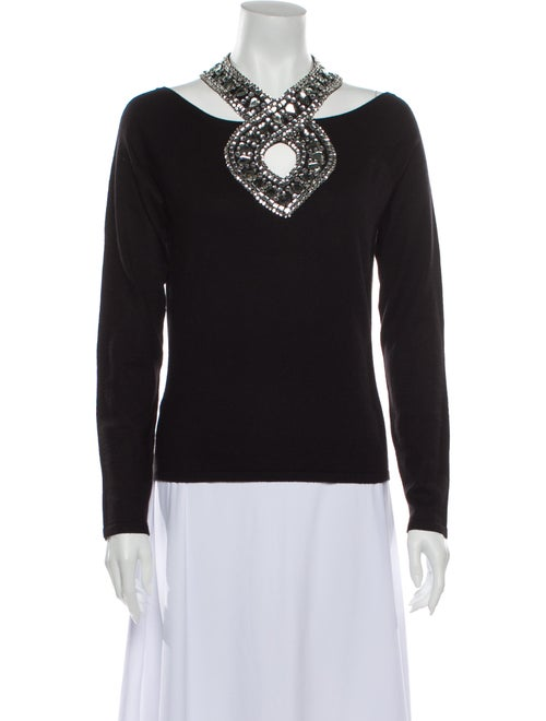 Naeem Khan Cashmere V-Neck Sweatshirt Black
