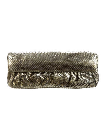 Metallic Python Clutch