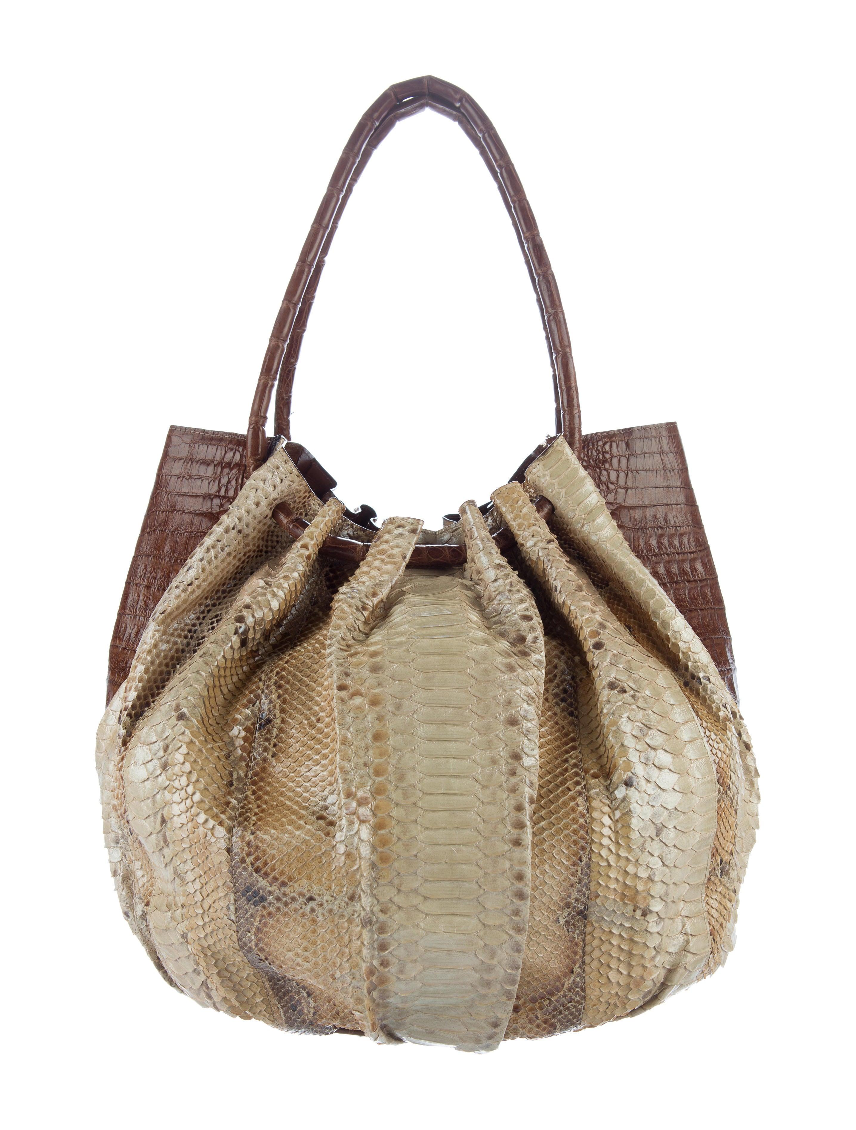 Nancy gonzalez crocodile trimmed python tote handbags for Nancy gonzalez crocodile tote