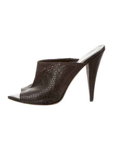 Narciso Rodriguez Snakeskin Peep-Toe Mules None