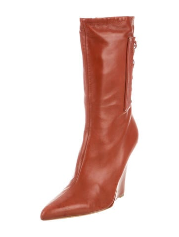 narciso rodriguez leather pointed toe wedge boots shoes