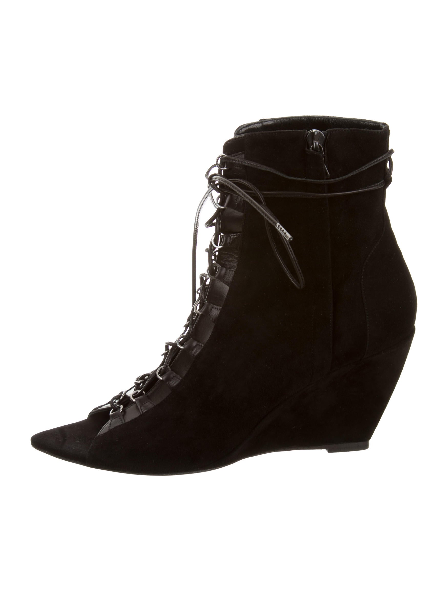 narciso rodriguez suede lace up wedge ankle boots w tags