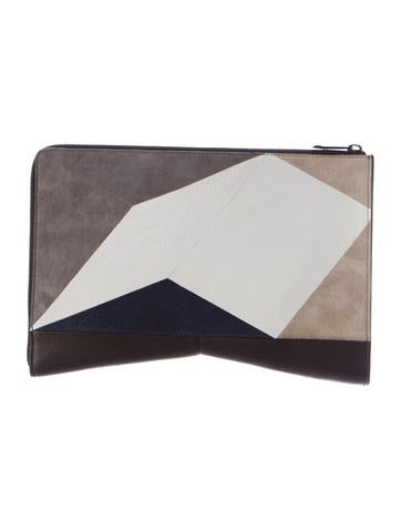 Narciso Rodriguez Leather & Suede Patchwork Clutch None
