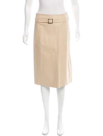 Narciso Rodriguez Belted Leather Skirt None