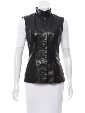 Narciso Rodriguez Leather Collared Vest None