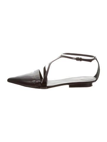 Narciso Rodriguez Leather Pointed-Toe Flats None