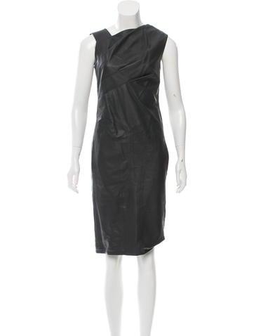 Narciso Rodriguez Leather Sleeveless Dress None
