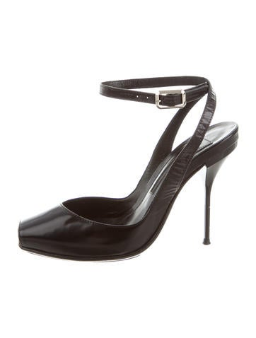 Narciso Rodriguez Leather Peep-Toe Pumps None
