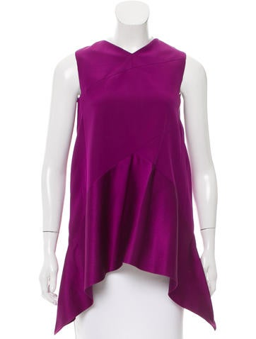 Narciso Rodriguez Silk Satin-Accented Top None