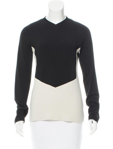 Narciso Rodriguez Two-Tone Long Sleeve Top w/ Tags None