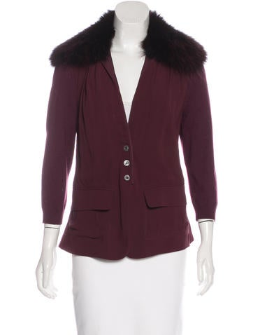 Narciso Rodriguez Fur-Trimmed Silk Jacket None