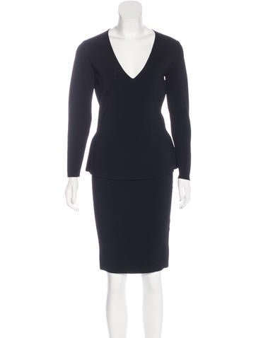 Narciso Rodriguez Rib Knit Peplum Dress w/ Tags None