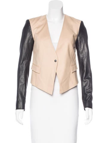 Narciso Rodriguez Leather-Accented Woven Jacket None