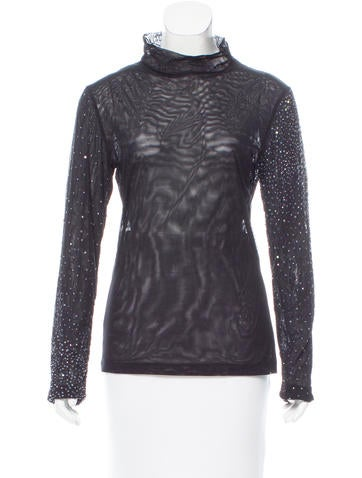 Narciso Rodriguez Sequined Long Sleeve Top None