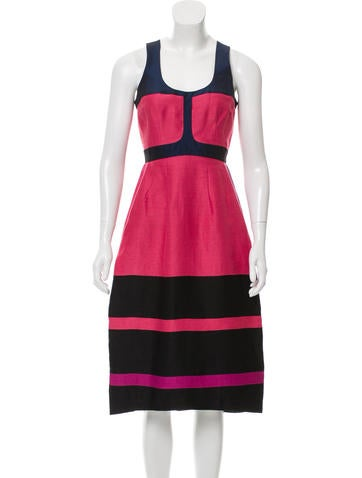 Narciso Rodriguez Colorblock Linen Dress None
