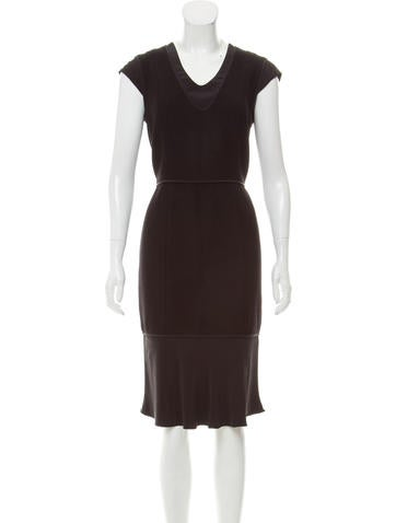 Narciso Rodriguez Silk-Trimmed Wool Dress None