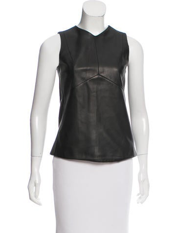 Narciso Rodriguez Leather Sleeveless Top None