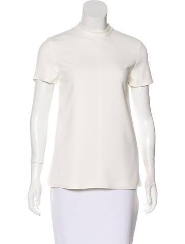 Narciso Rodriguez Short Sleeve Mock Neck Top None