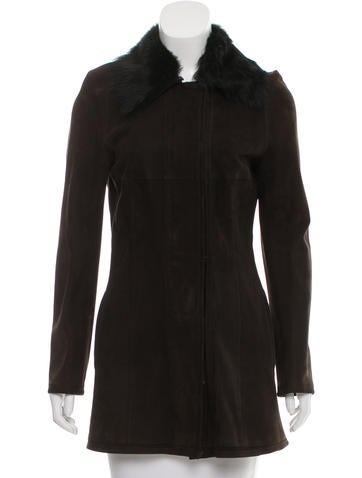 Narciso Rodriguez Suede Zip-Up Coat None