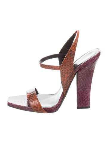 Narciso Rodriguez Colorblock Snakeskin Sandals None