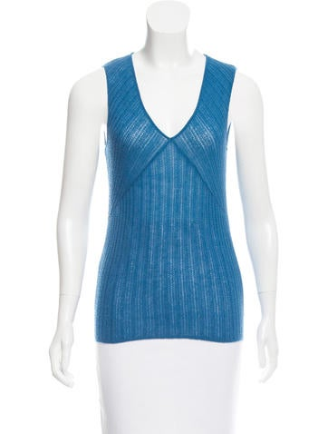Narciso Rodriguez Cashmere & Silk Sleeveless Top None