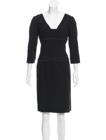 Narciso Rodriguez Long Sleeve Wool Dress None