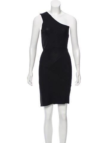 Neil Barrett Ribbed One-Shoulder Dress None